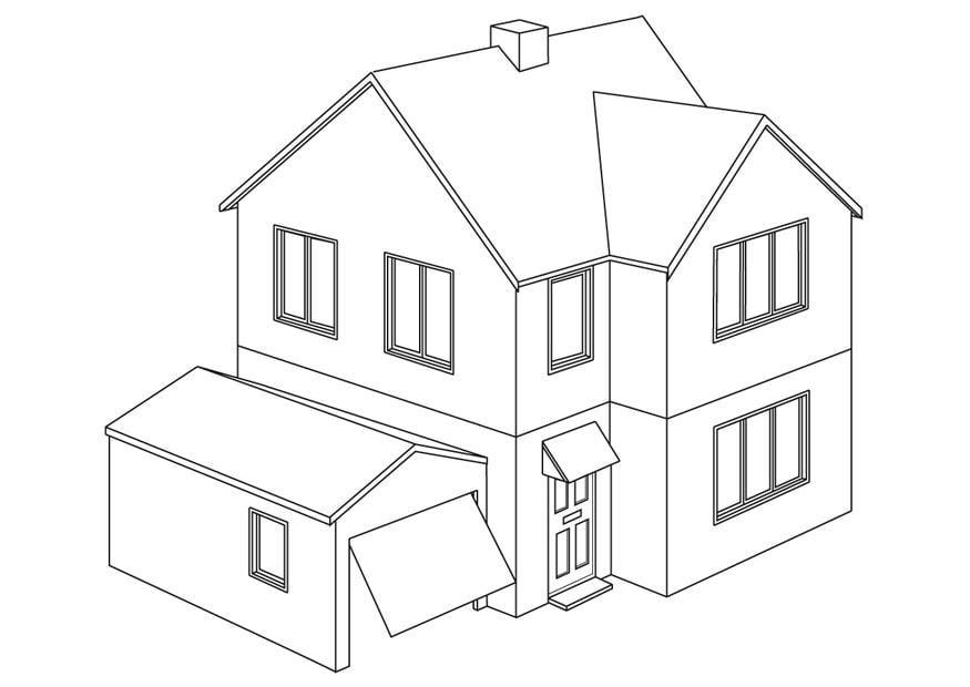 Disegno da colorare casa cat 9454 for Casa disegno