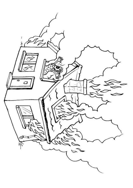 Disegno da colorare casa incendiata cat 8176 - Estintore per casa ...