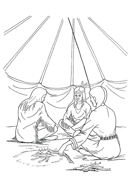 Disegno da colorare casa indiani tenda tipi cat 9915 for Casa immagini da colorare