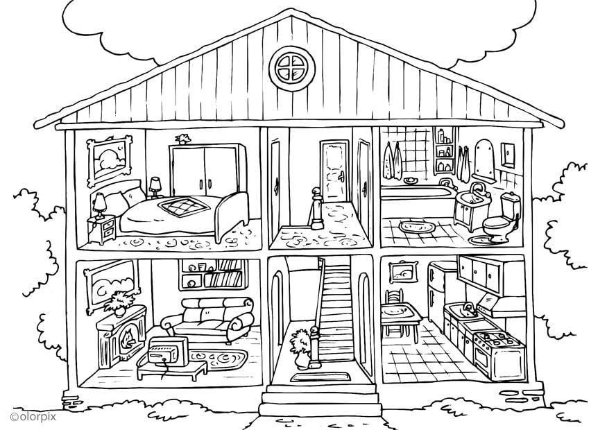 Disegno da colorare casa interno cat 25995 for Disegno casa bambini