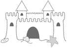 Disegno da colorare castello di sabbia