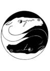 Disegno da colorare cavalli ying e yang