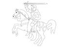 Disegno da colorare cavalliere a cavallo