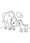 Disegno da colorare cavallo con puledro