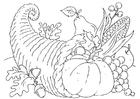Disegno da colorare cesto ringraziamento - cornucopia