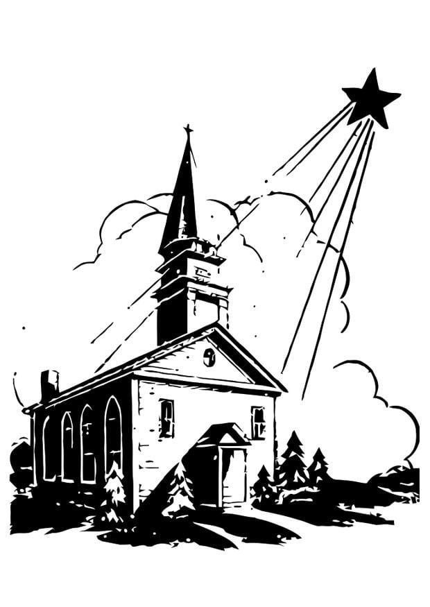Disegno Da Colorare Chiesa Con Stella Di Natale Cat 20348