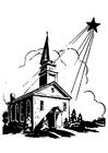 Disegno da colorare chiesa con stella di Natale