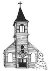 Disegno da colorare chiesa in inverno