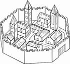 Disegno da colorare città circondata