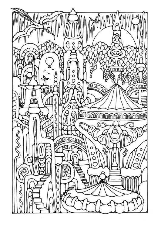 Colouring Pages For Ukg : Disegno da colorare citta di fantasia cat