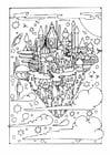 Disegno da colorare città volante
