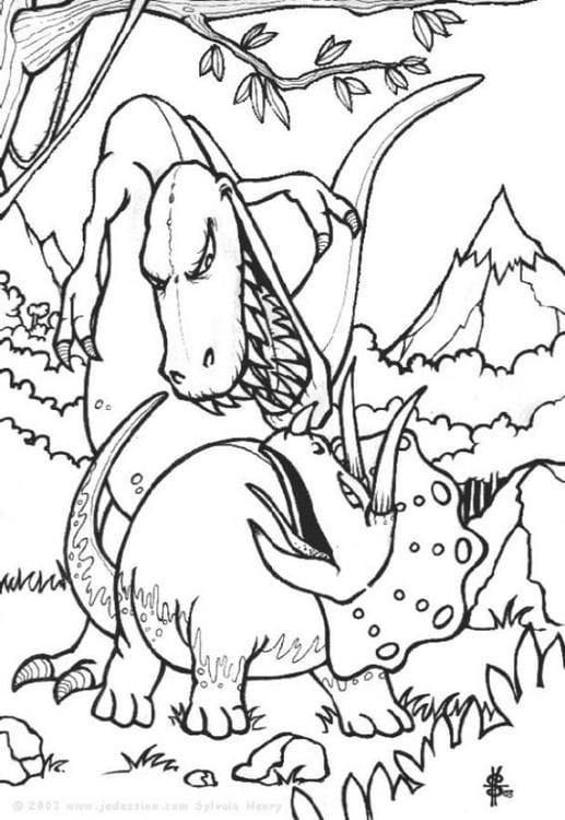 Disegno da colorare combattimento di dinosuari cat 6443 - Disegno finestra da colorare ...