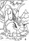 Disegno da colorare combattimento di dinosuari