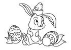 Disegno da colorare Coniglietto di pasqua con il pulcino di pasqua
