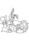 Disegno da colorare Coniglietto di pasqua con le uova di Pasqua