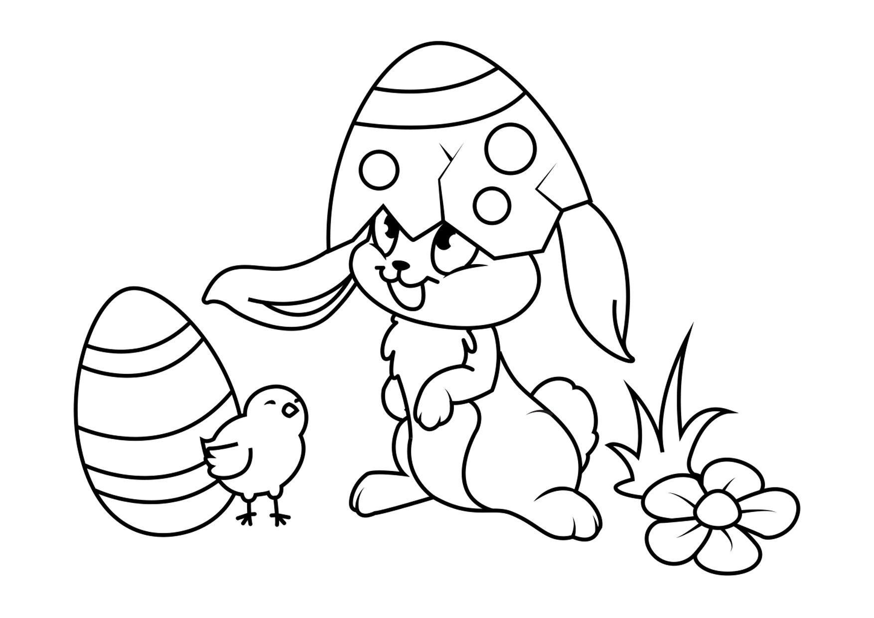 Disegni Da Colorare Pulcini.Disegno Da Colorare Coniglietto Di Pasqua Con Pulcino Disegni Da Colorare E Stampare Gratis