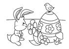 Disegno da colorare Coniglietto di pasqua con uovo di Pasqua e pulcino