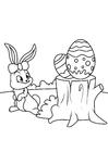 Disegno da colorare Coniglietto di pasqua con uovo di Pasqua