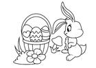 Disegno da colorare Coniglietto pasquale con cesto pasquale