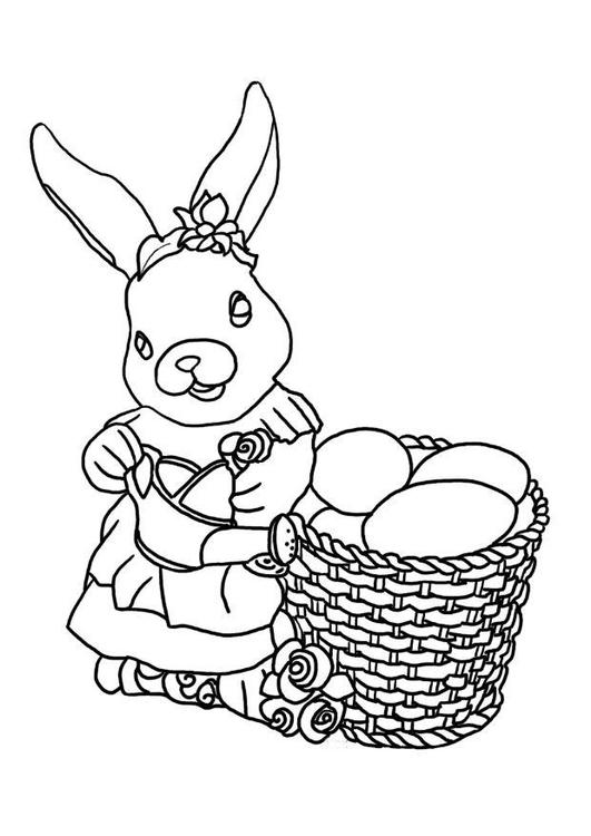 Disegno Da Colorare Coniglietto Pasquale Cat 7590