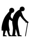 Disegno da colorare coppia anziana
