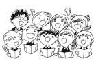 Disegno da colorare coro di bambini