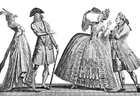 Disegno da colorare costumi alla corte francese 1778