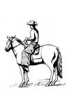 Disegno da colorare cowboy a cavallo