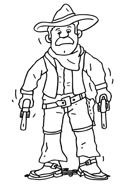 Disegno da colorare cowboy cat 6489 - Cowboy foglio da colorare ...