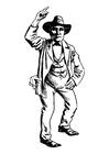 Disegno da colorare cowboy