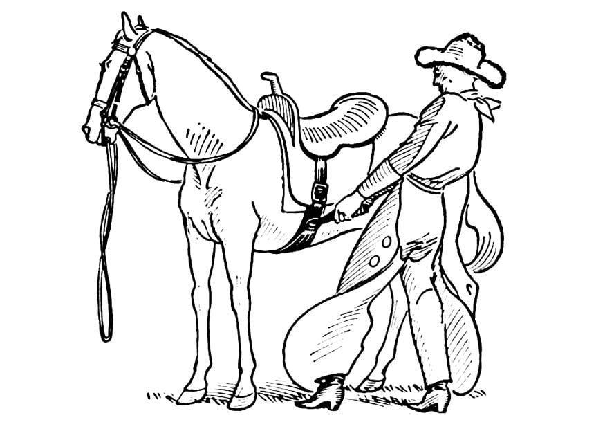 Disegno da colorare cowboy sella cavallo cat 18852 - Cowboy foglio da colorare ...