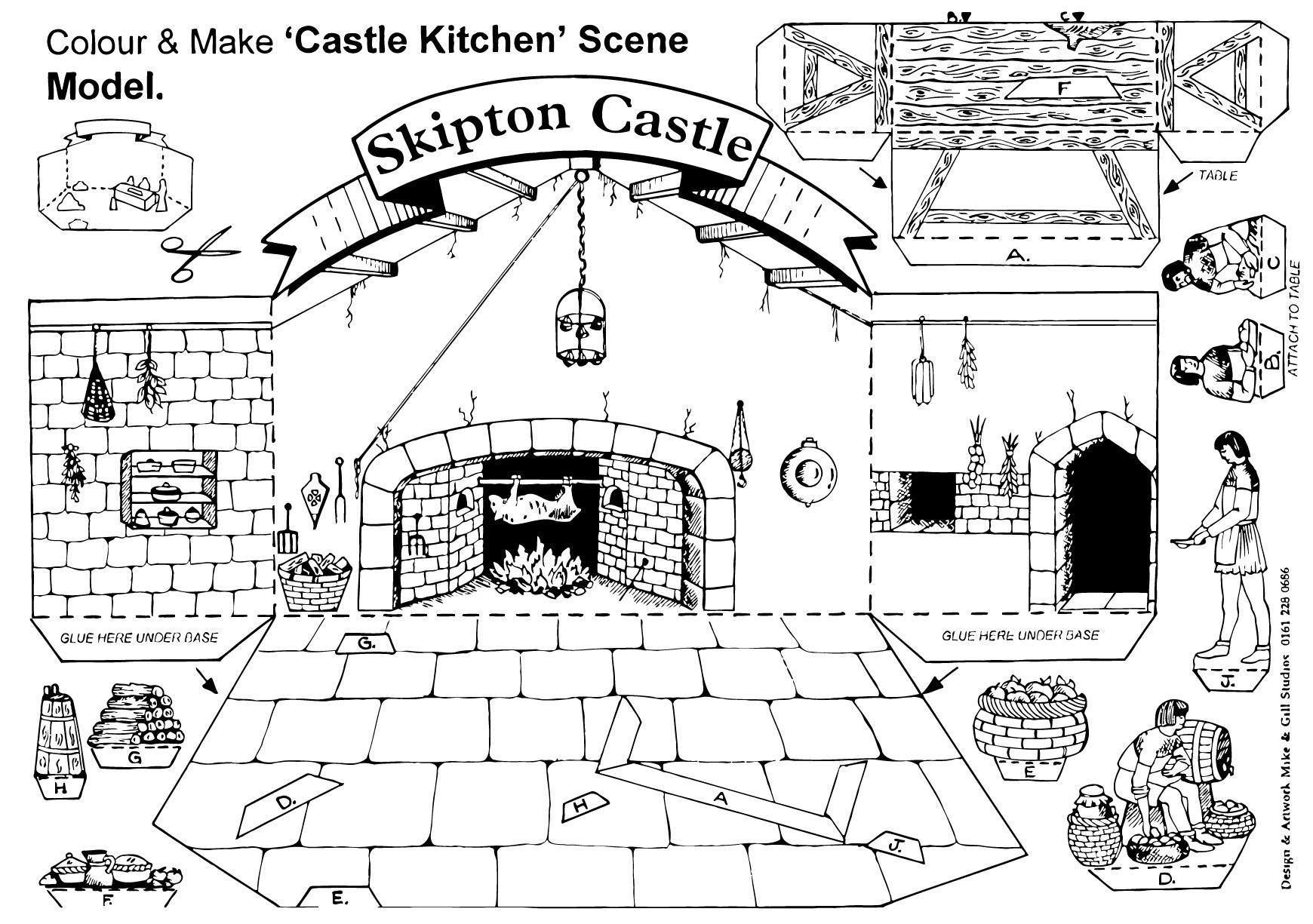 Disegno da colorare cucina del castello Skipton - Cat. 14905.