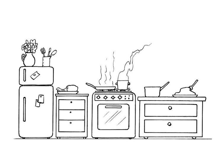Disegno da colorare cucina - Cat. 21337.