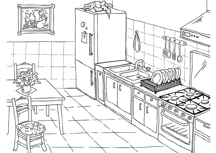 disegno da colorare cucina cat 26224