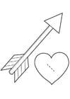 Disegno da colorare cuore di San Valentino - Cupido