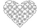 Disegno da colorare cuore puzzle