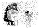 Disegno da colorare Cupido e la donna anziana