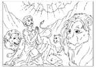 Disegno da colorare Daniele nella fossa dei leoni