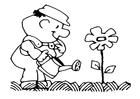Disegno da colorare dare acqua ai fiori