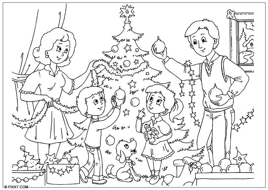 Disegno da colorare decorare l'albero di Natale - Cat. 28189.