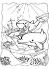 Disegno da colorare delfini 3