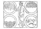 Disegno da colorare Dio e i 4 elementi