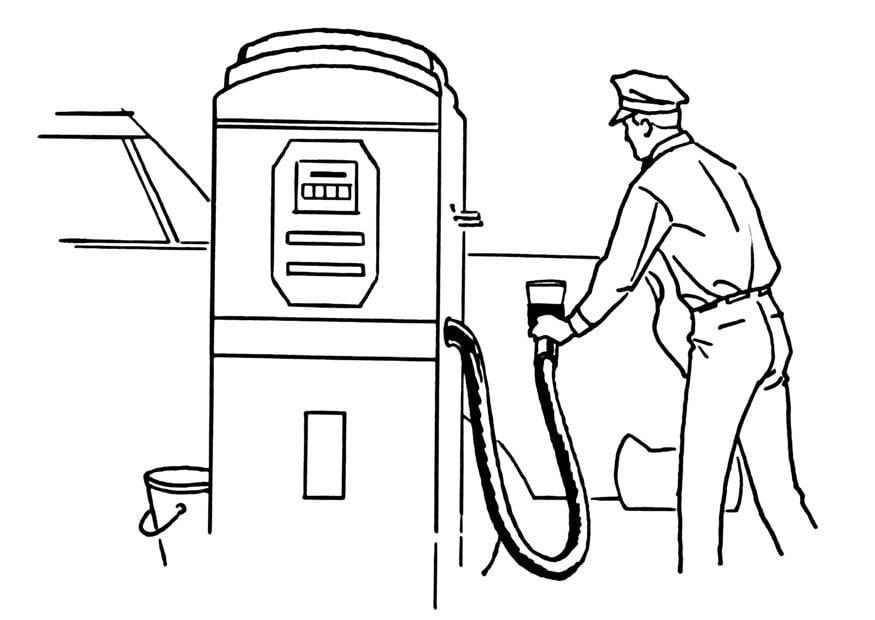 disegno da colorare distributore di benzina
