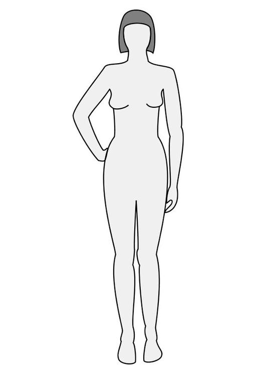 Disegno Da Colorare Donna Vista Frontale Cat 10225