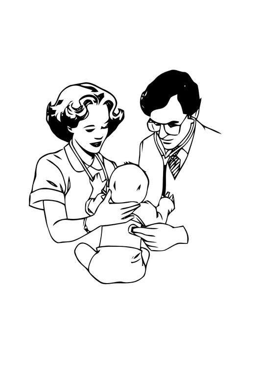 disegno da colorare dottore con neonato  disegni da