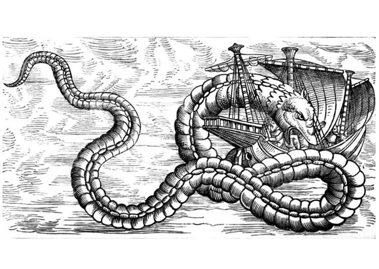 Disegno Da Colorare Drago Del Mare Attacca Nave Cat 12253 Images
