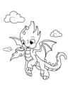 Disegno da colorare drago nel cielo