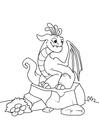 Disegno da colorare drago su pietra