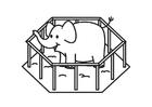 Disegno da colorare elefante in gabbia
