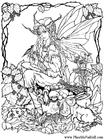 Disegno da colorare elfi nel bosco